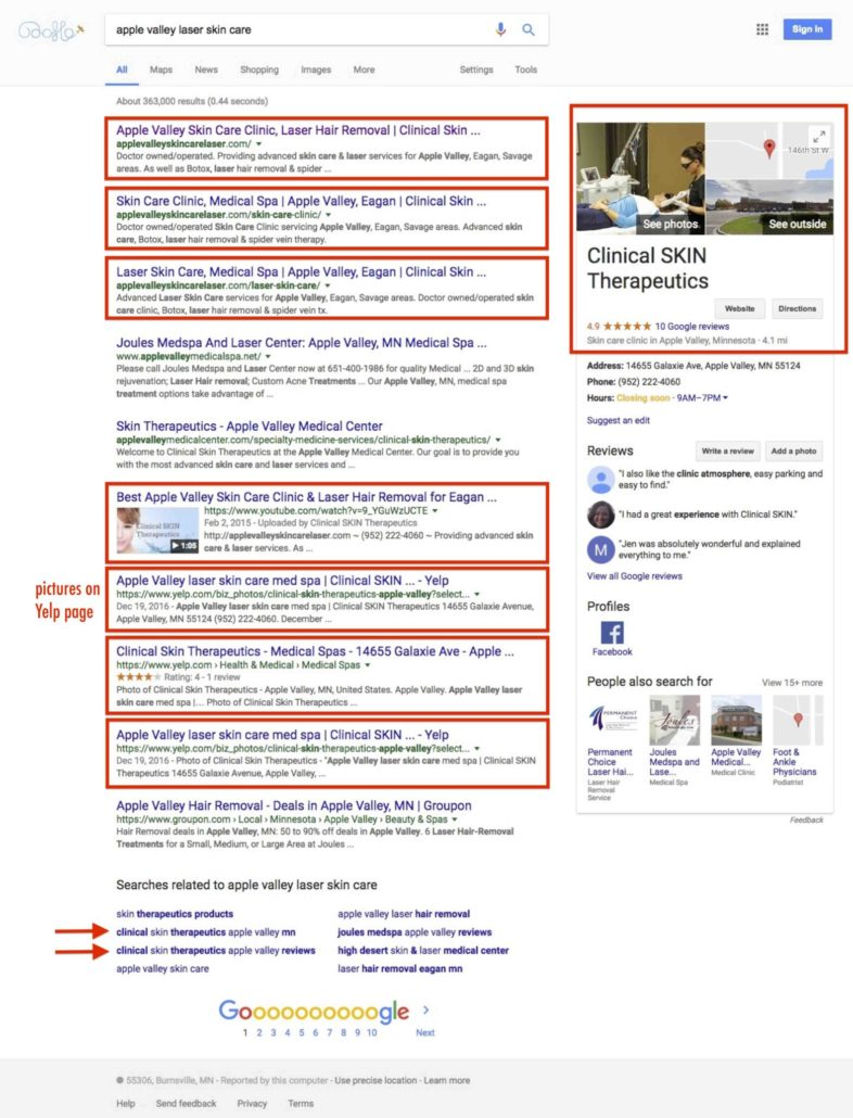 Local Business Marketing Agency Minneapolis Google Ranking Success - apple valley laser skin care 2017